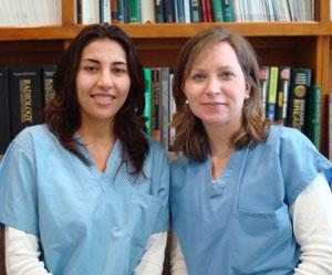 Ultrasound technologists Kathleen Daly, RDMS andLyubov Yanovosky, RDMS.